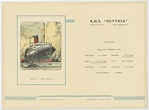 "List of Passengers R. M. S. ""Scythia"": 1950 CUNARD ""SCYTHIA"""