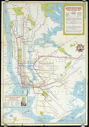 New York City Rapid Transit Lines. Principal Auto Routes. (Map title: The Seamen's Bank for Savin...