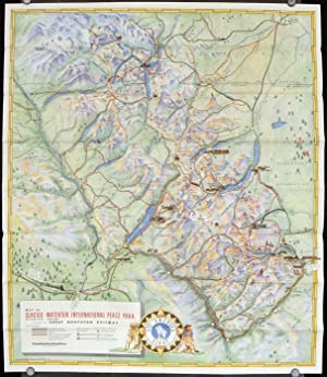 Pictorial Map Glacier National Park. Waterton Lakes National Park. Route of the Empire Builder. G...