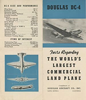 Douglas DC-4 Facts Regarding The World's Largest Commercial Land Plane.