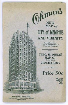 Ohman's New Map of City of Memphis and Vicinity. (Map title: Map of City of Memphis and Vicinity).