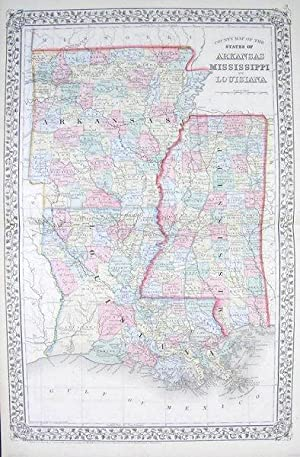 County Map of the States of Arkansas Mississippi and Louisiana.