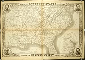 Map of the Southern States, including Rail Roads, County Towns, State Capitals, County Roads, The...
