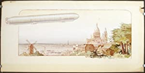 Untitled lithograph of the dirigible SPIESS-ZODIAC flying over Paris.