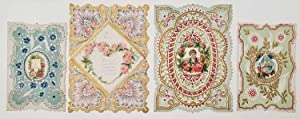 Early 1900s Valentine cards, unused. LOT OF 4 DIE-CUT EMBOSSED CARDS.