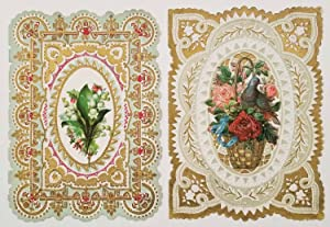 Early 1900s Valentine cards, unused. SET OF 2 DIE-CUT EMBOSSED CARDS.