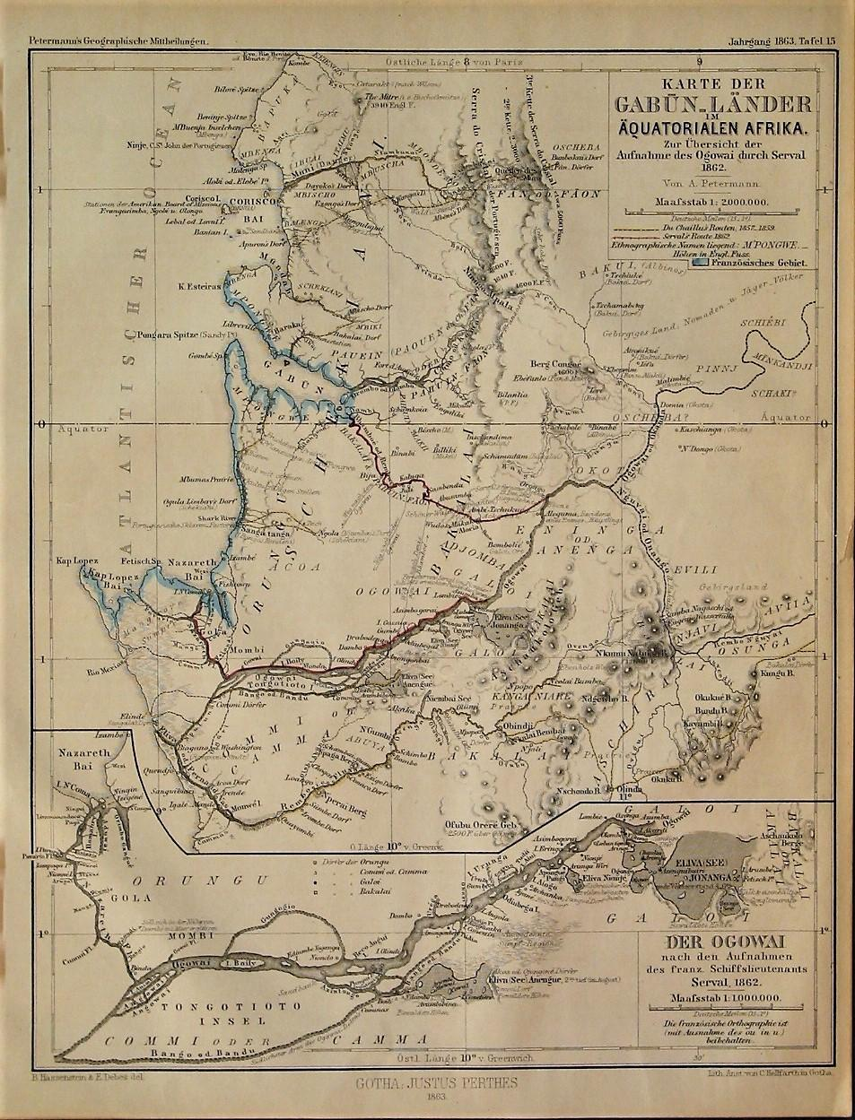 1863 Map Of The Gabon Countries Of Equatorial Africa An Overview Of