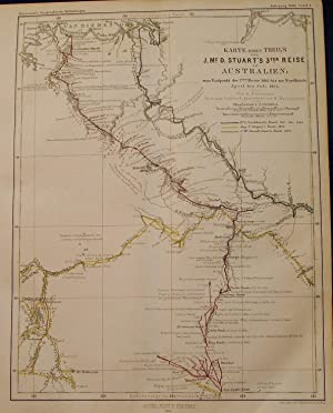 1864 Map of John McDouall Stuart's 3rd Expedition in Australia