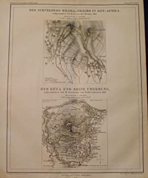 Two 1864 Maps of Mount Kilimanjaro and Mount Etna