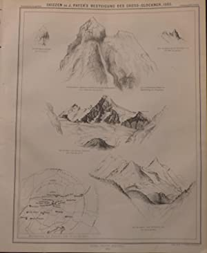 6 Sketches of Mountaineer Julius Payer's Ascent of the Glossglockner