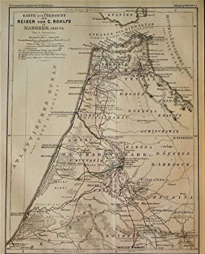 1865 Overview Map of the Trips of C. Rohlfs in Morocco, 1861-64. By A. Petermann.