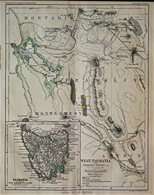 1865 Map of West Tasmania after Charles Gould et al by A. Petermann. With an inset entitled Tasma...