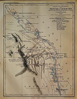 1865 Original Map of the Soturba Mountains or the Part of Nubia Known as Ammed Gorab by G. Schwei...