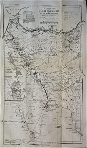 1865 Original Map of Gerhard Rohlfs' Travels in Central and South Morocco (Atlas, Talfilet, Draa,...