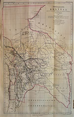 1865 Original Map of Bolivia after the Best Sources and After Surveys of Hugo Reck from Clausthal