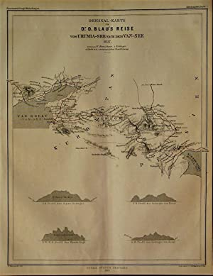 1863 Original Map of Dr. O. Blue's Journey from Urmia Lake to the Van Lake, 1857