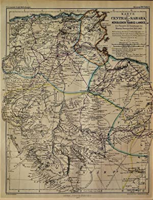 1863 Map of the Central Sahara of Northern Tuareg Country, to Overview the Research of Henry Duve...