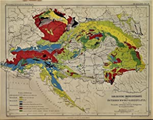 1863 Geological Overview Map of the Austrian Empire According to the Images of the k. k. Geologic...