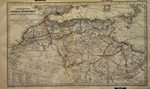 1866 Overview Map of the Travels of Gerhard Rohlfs in Morocco, Tuat, Tripoli, Fessen, etc., 1861-...