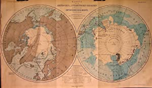 1868 Map of the Arctic and Antarctic Regions - An Overview of Exploration. By A. Petermann.