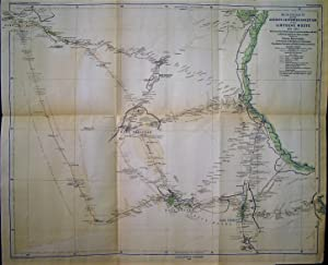 1875 Original Map of G. Rohlf's Guided Expedition in the Libyan Desert 1873-1874. According to As...