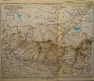 1875 Map of the Tallest Areas of the Himalayan Lands According to Information Known up to 1875. B...