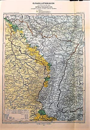 1875 Map of the Alsace-Lorraine, an Overview of the Language Border, after the Latest Official So...