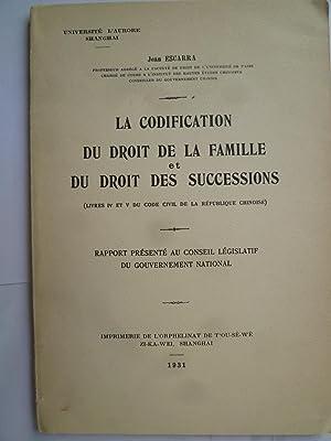 La Codification du Droit de la Famille et du Droit des Successions (Livres IV et V du Code Civil de...