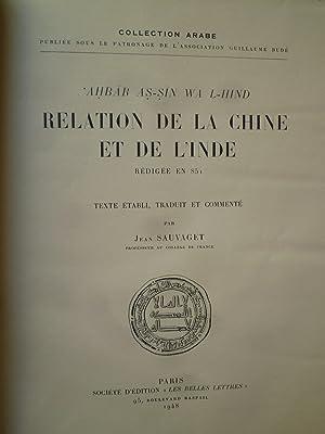 Relation de la Chine et de l'Inde, rédigée en 851 - Texte établi, traduit...
