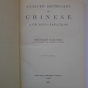 Analytic of Chinese and Sino-Japanese: KARLGREN (Bernhard)