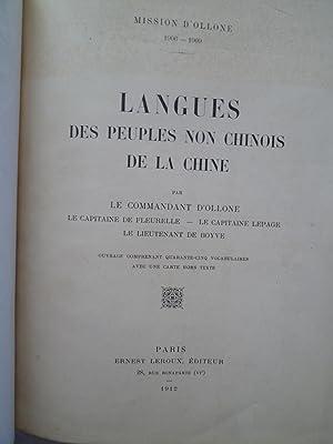 Mission d'Ollone 1906-1909 - Langues des Peuples non Chinois de la Chine .: OLLONE (Commandant...