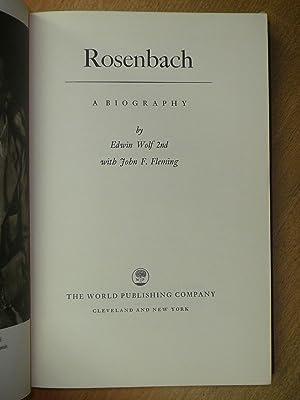 Rosenbach. A biography.: Wold, Edwin 2nd