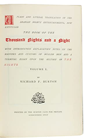 A plain and literal translation of the: ARABIAN NIGHTS]. BURTON,
