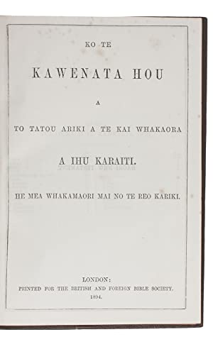 Ko te Kawenata Hou a to tatou: BIBLE – NEW