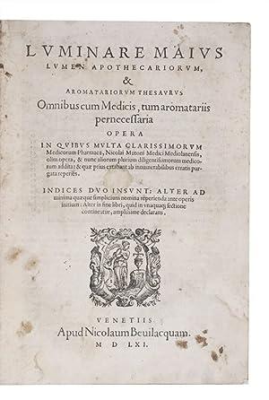 Luminare maius lumen apothecariorum, & aromatariorum thesaurus: MANILIO, Giovanni Giacomo,