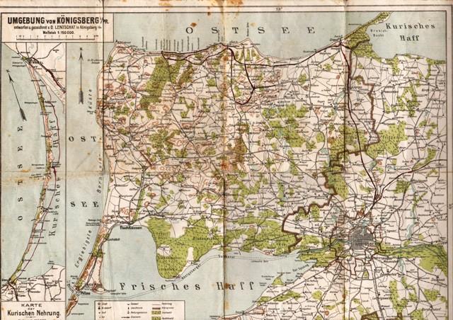 königsberg karte Umgebung von Königsberg i. Pr. Nebenkarte: Karte der Kurischen
