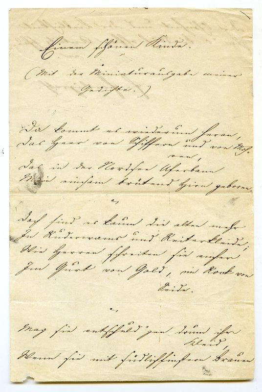"Autogr. poem (12 lines) signed (""F. Freiligrath"").: Freiligrath, Ferdinand, German"