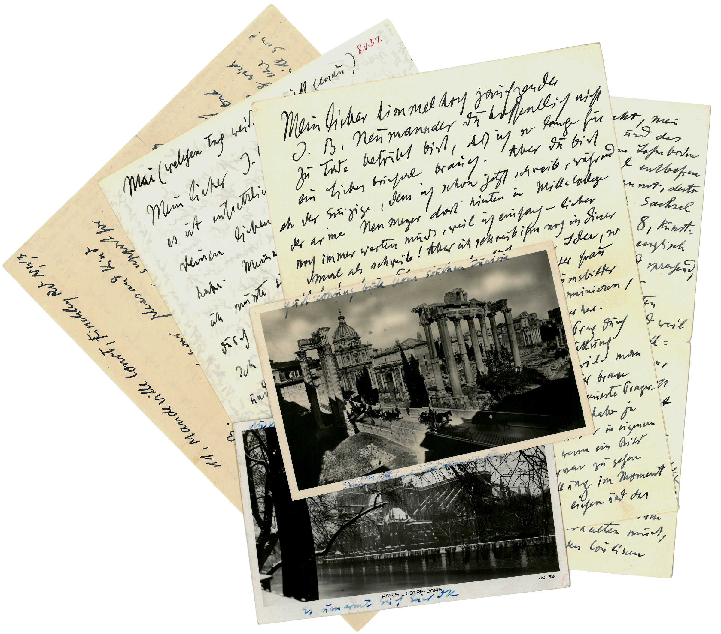 3 autograph letters signed and 2 autogr.: Kokoschka, Oskar, Austrian