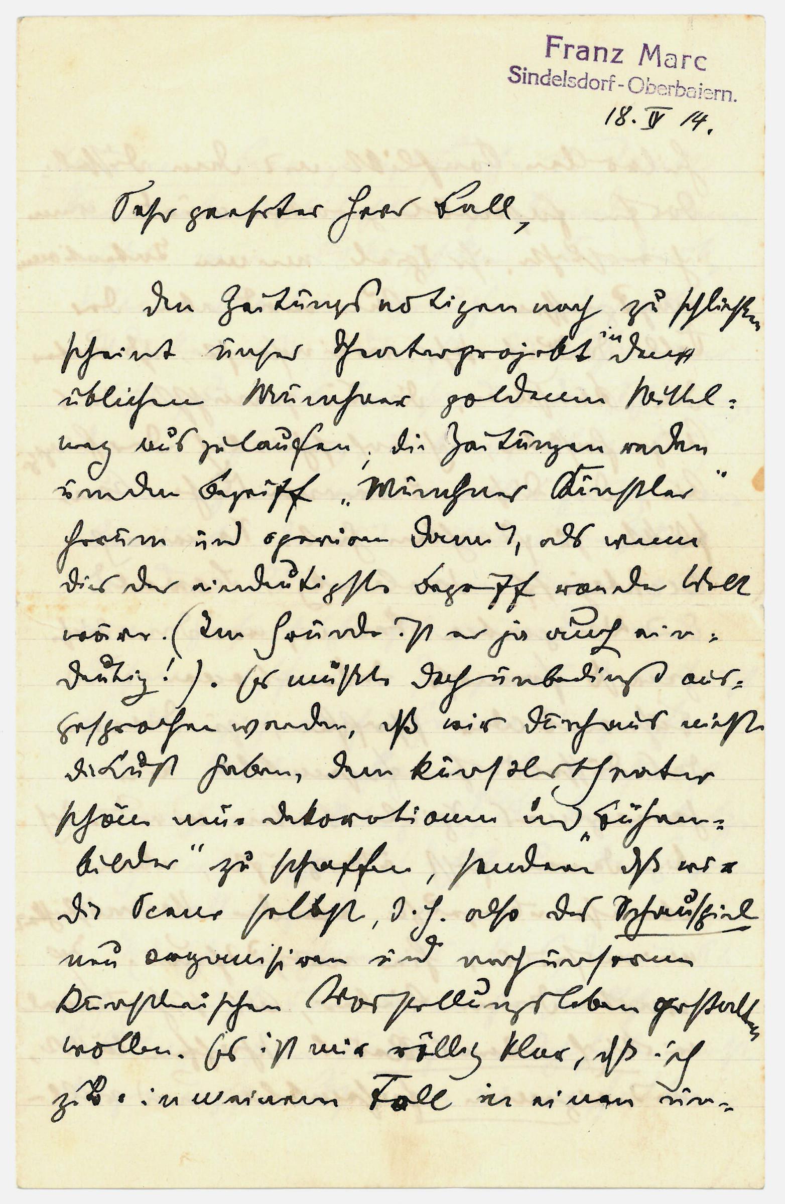"""Autograph letter signed (""""Fz. Marc"""").: Marc, Franz, German"""