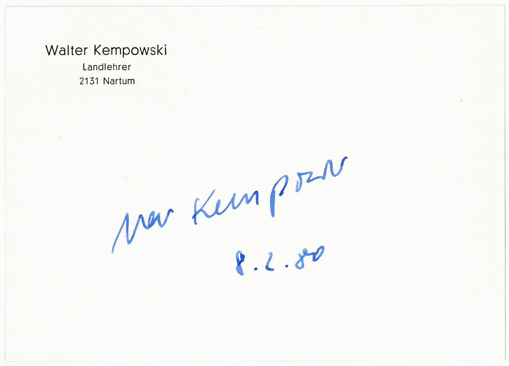 Albumblatt mit U.: Kempowski, Walter, deutscher