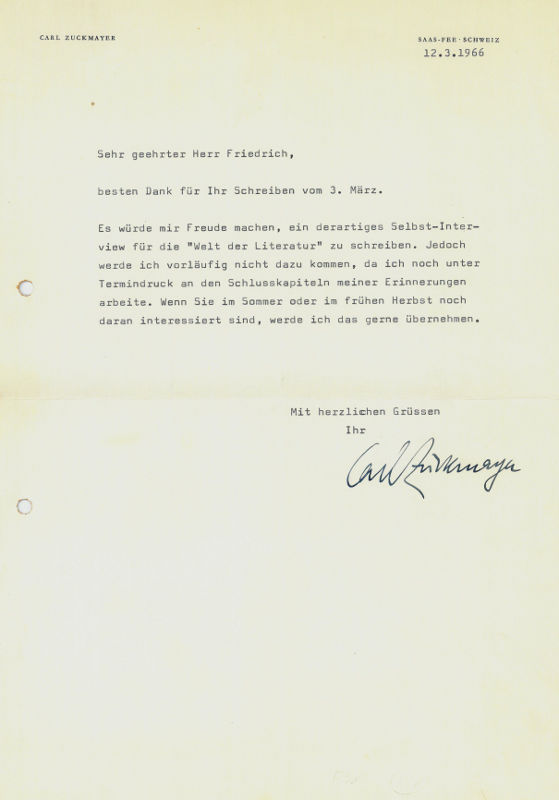 Ms Brief Mit Von Zuckmayer Zvab