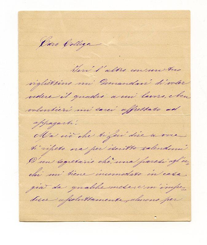 """Brief mit eigenh. U. (""""Tuo Hayez"""").: Hayez, Francesco, Maler"""