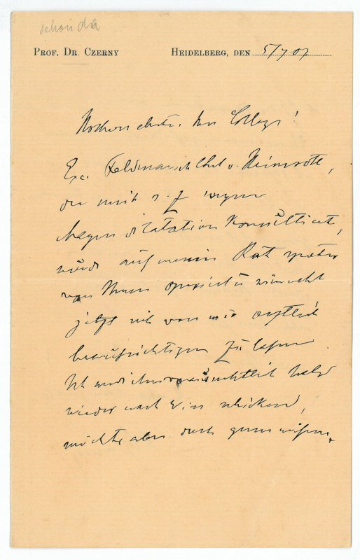 Eigenh. Brief mit U.: Czerny, Vinzenz von,