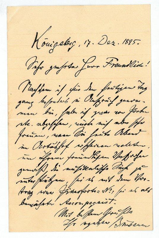 Eigenh. Brief mit U.: Birnbaum, Eduard, Kantor