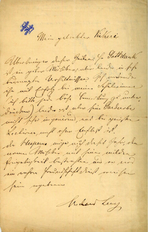 Eigenh. Brief mit U.: Lewy, Richard, Waldhornvirtuose