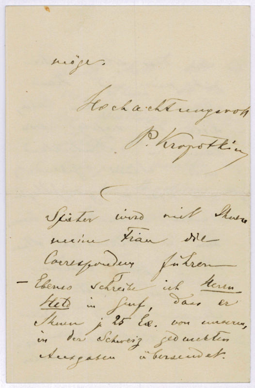 Autograph letter signed.: Kropotkin, Peter, Russian