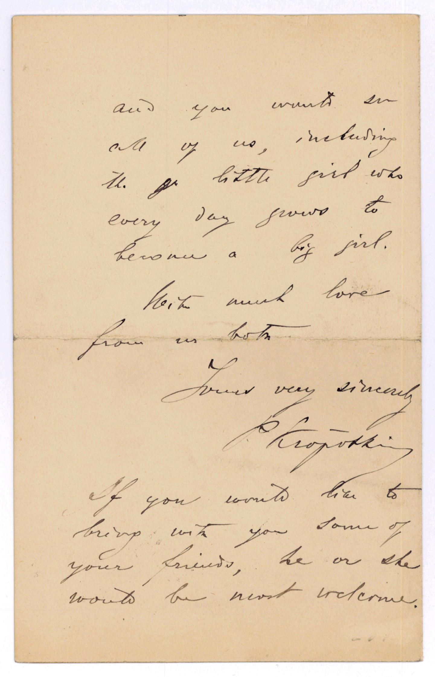 "Autograph letter signed (""P. Kropotkin"").: Kropotkin, Peter, Russian"