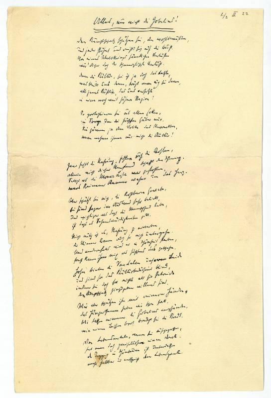 """Alles, nur nicht die Gobelins!"""" Autograph poem.: Kraus, Karl, Austrian"""