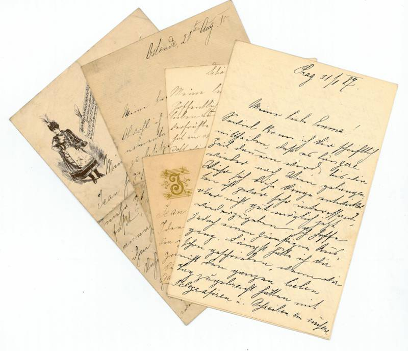 5 eigenh. Briefe und Briefkarten mit U.: Strauß, Johann (Sohn)].