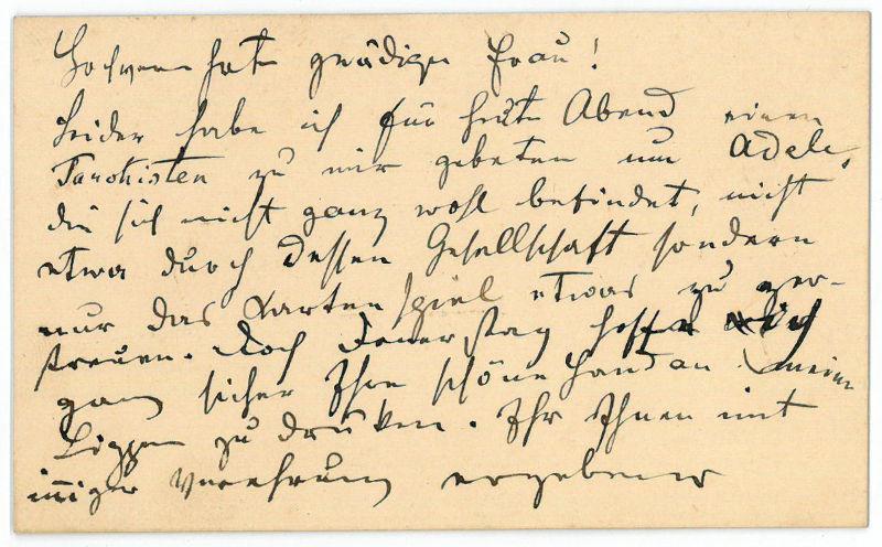 Autograph calling card. Strauß, Johann (fils), Austrian composer (1825-1899).